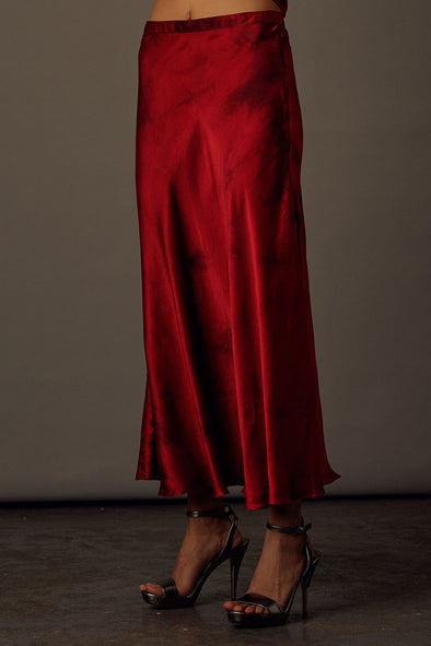 Celeste Red Satin Skirt