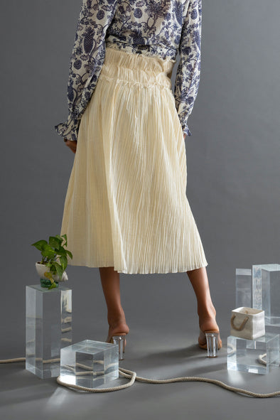 Ruched Muslin Bucket Waist Skirt