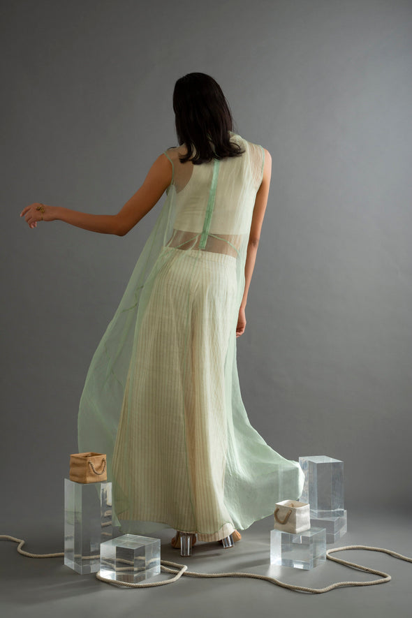 Sage Green Organza Long Top