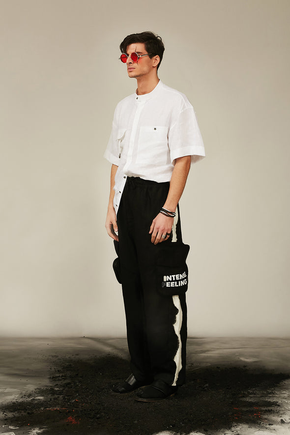 saturnine white linen shirt with patched pockets