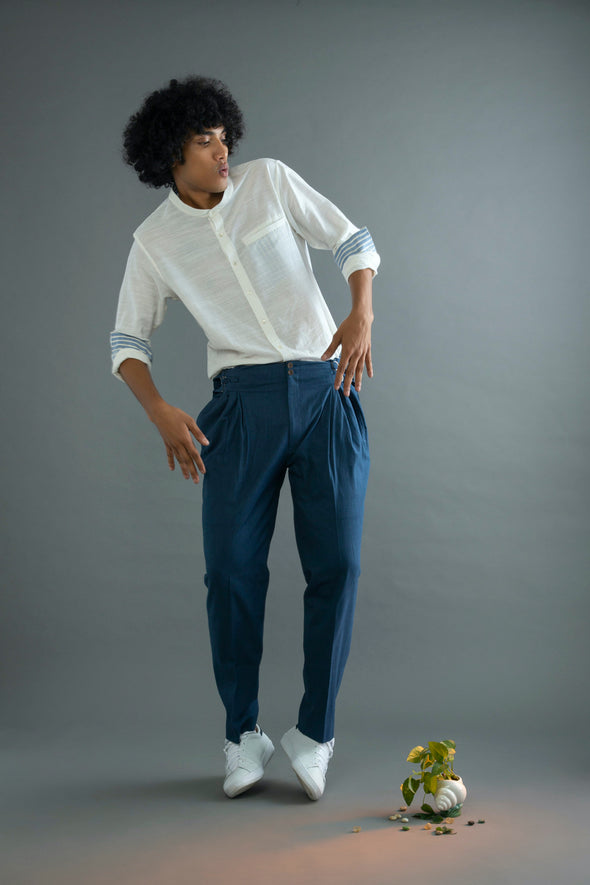 Space Adventure Blue Khadi Pants