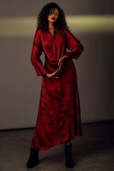 Sublime - Red Tie-dye Satin Silk Cowl Dress