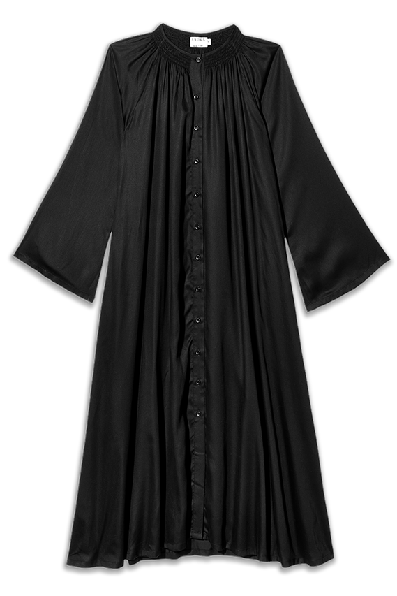 the becoming black tencel buttoned down dress