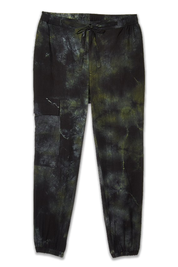 tie-dye black green joggers pants for women