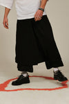 unleash black tencel double layered flared pants