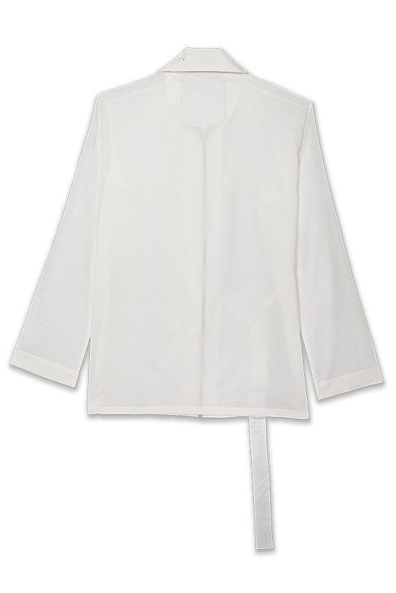 white organic cotton jacket with frayed flap and one side belt