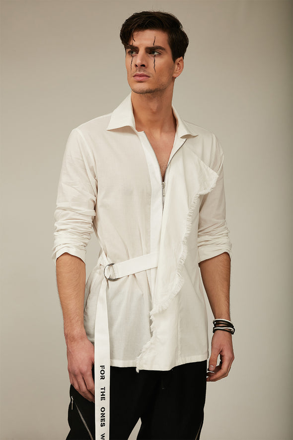 white organic cotton jacket with frayed flap