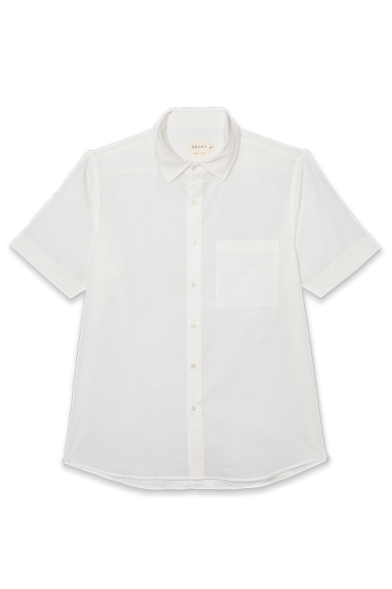 white organic cotton shirt half sleeves