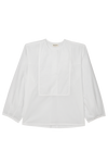 white organic cotton shirt with overlapping yoke for women