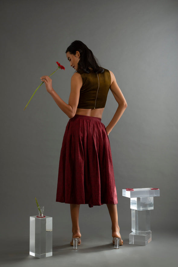 Wildlower Maroon Bhagalpuri Skirt Scaled