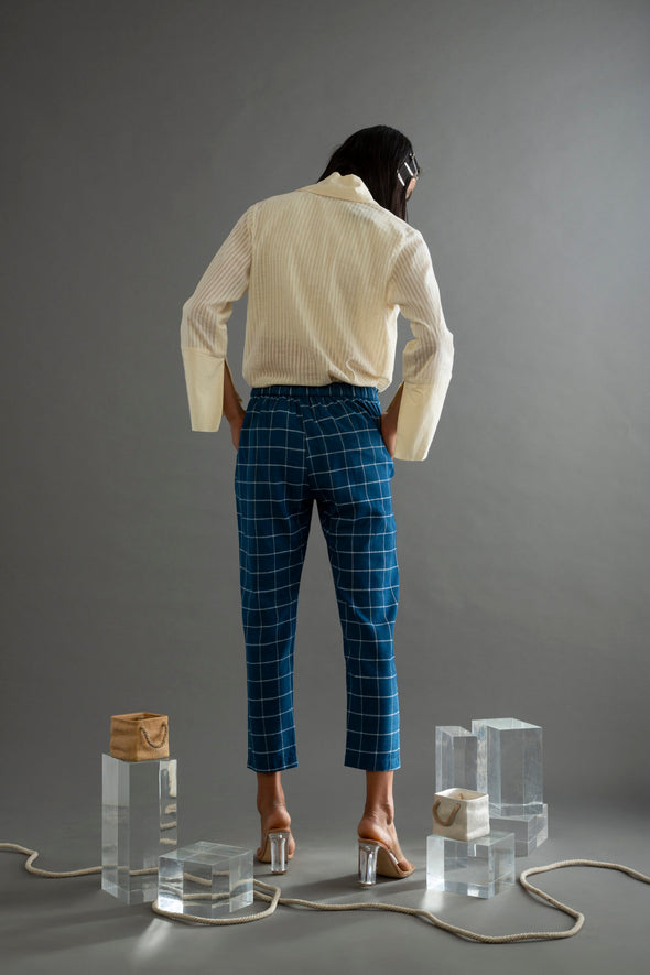 Women Khadi Narrow Pants Blue