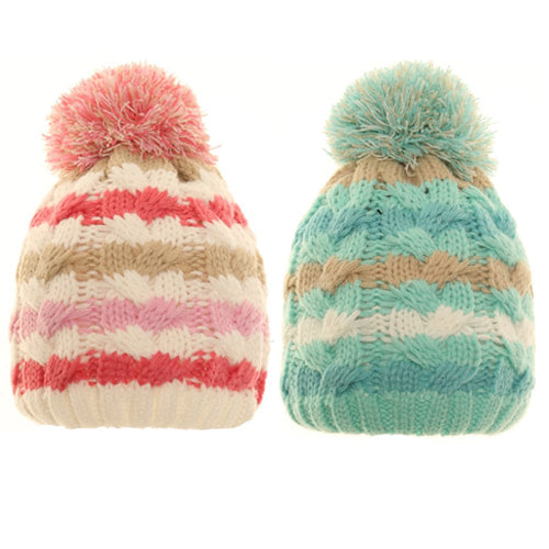 Baby/Toddler Stripey Bobble Hat