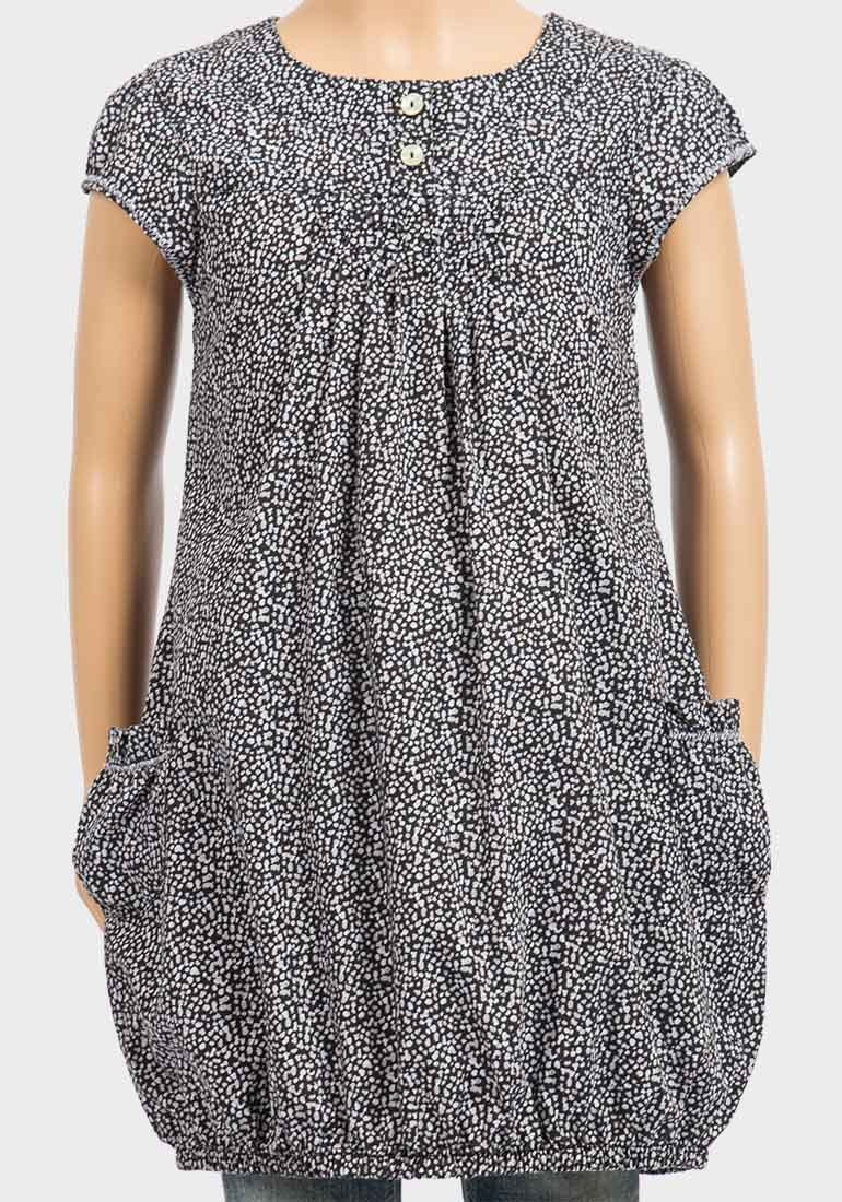 Cap Sleeve Bubble Hem Printed Tunic