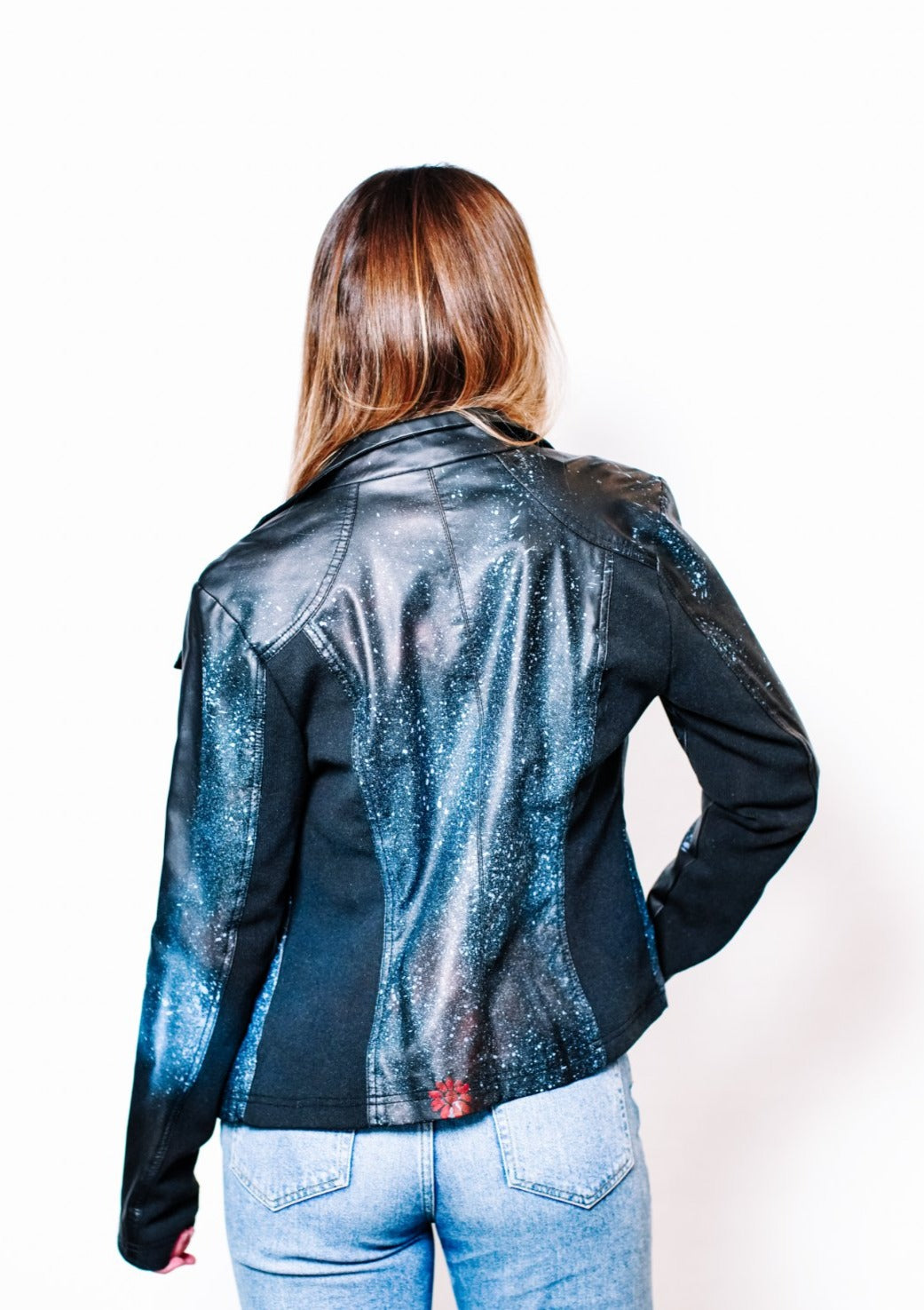 Blue Splatter Leather Jacket