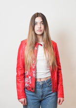 Load image into Gallery viewer, Jacqueline de Yong Red Leather Jacket