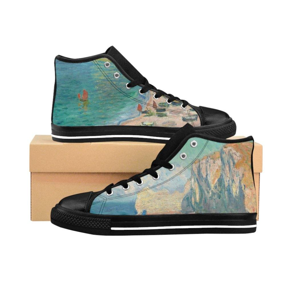 Men's High-top Sneakers - The Beach and the Falaise d'Amont, Claude Monet - Art an a T
