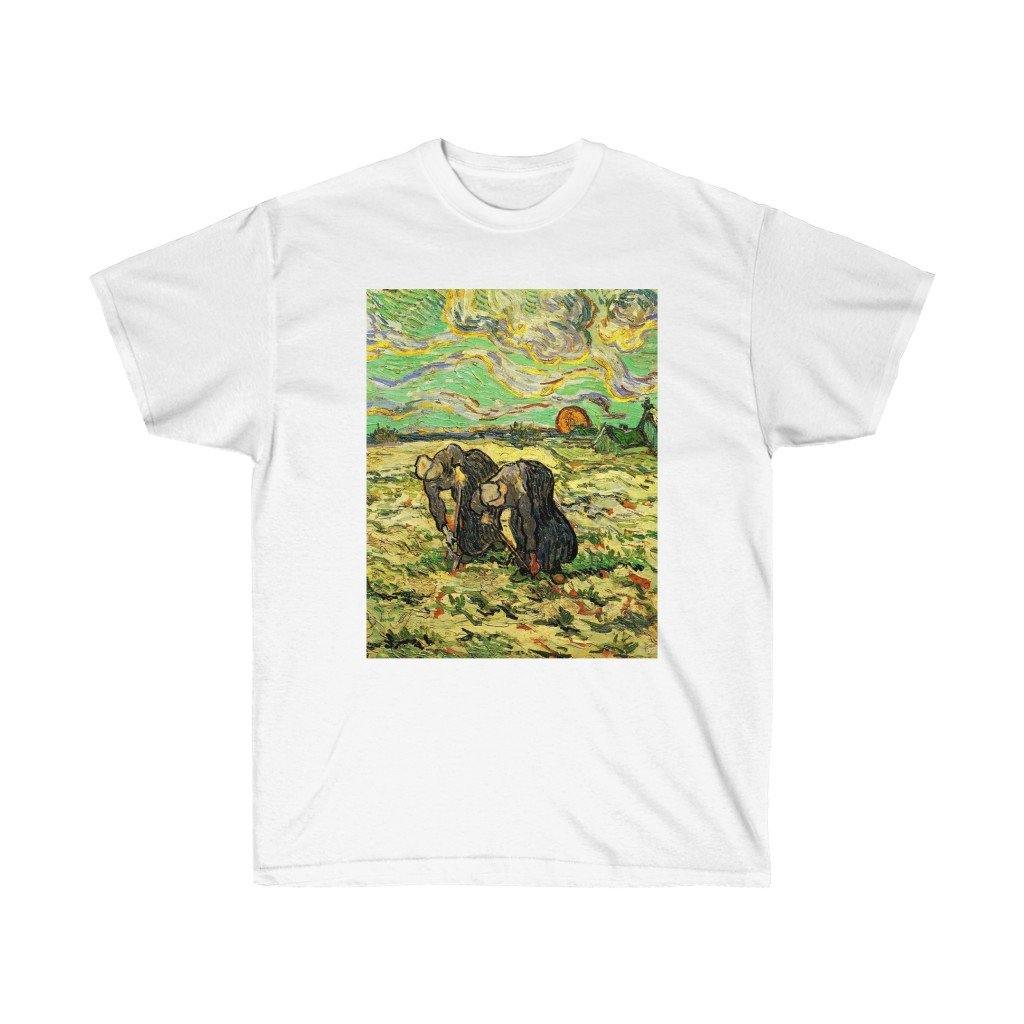 Tee - Two Peasant Women Digging in Field with Snow, Vincent van Gogh T-Shirt 19.95 Art an a T