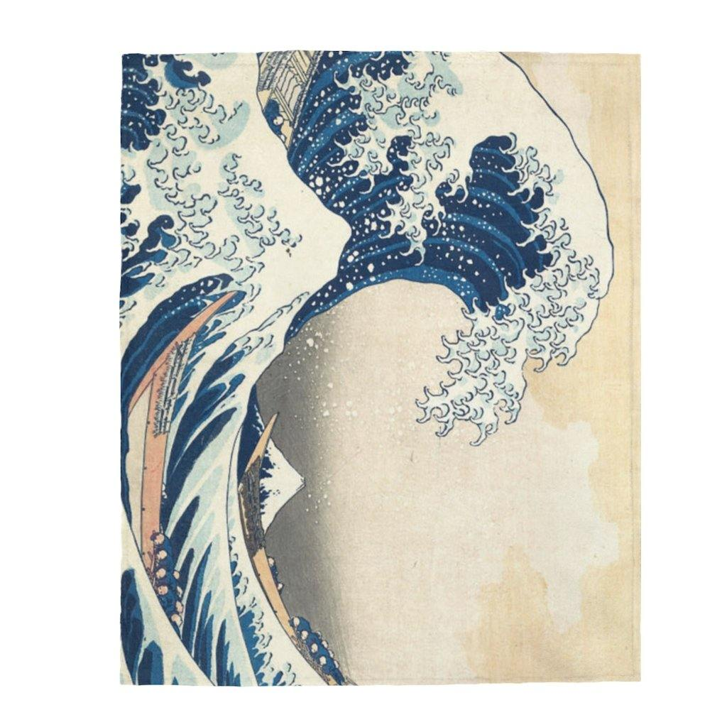 Plush Blanket - The Great Wave Off Kanagawa,  Hokusai All Over Prints 49.95 Art an a T