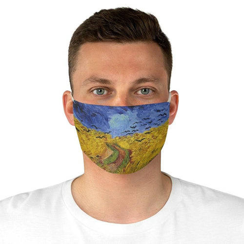 Adjustable Fabric Face Mask - Wheatfield with Crows, Vincent Van Gogh - Art an a T