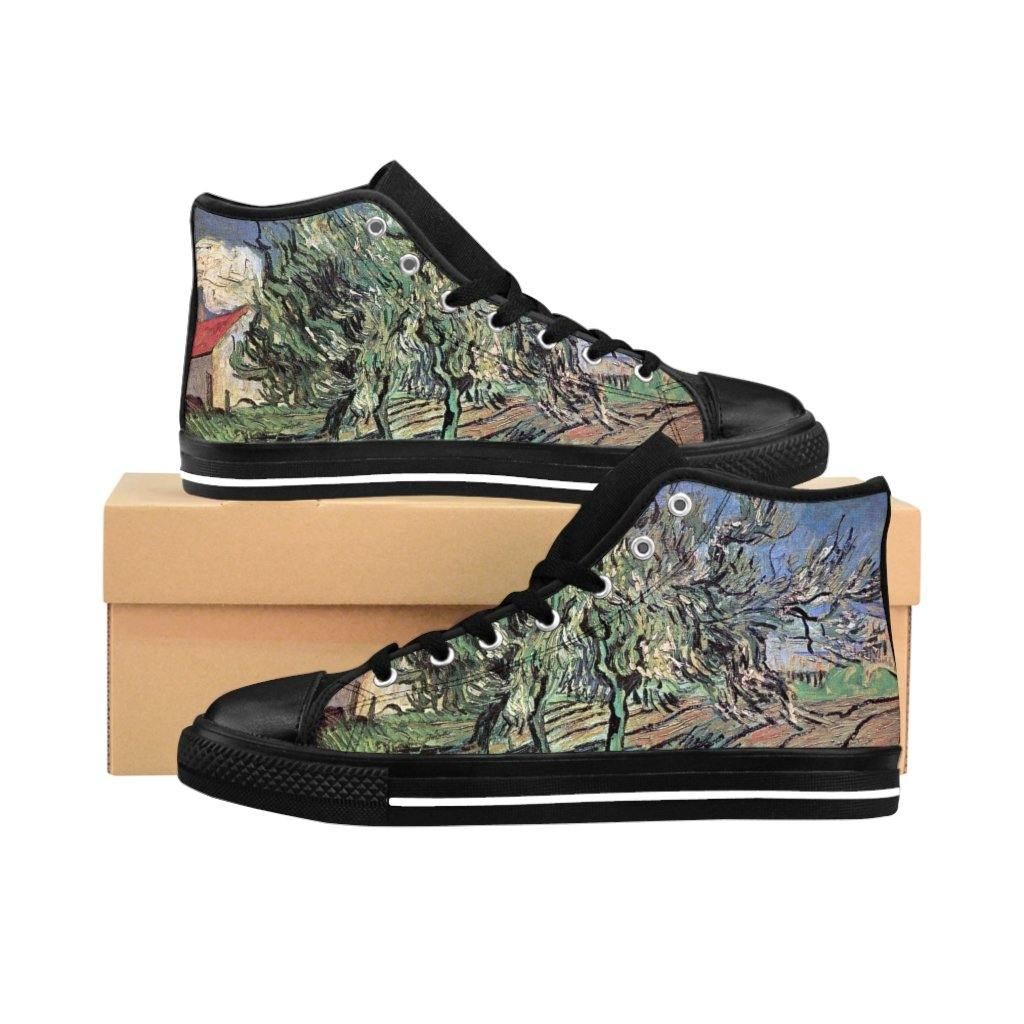 Men's High-top Sneakers - Landscape with Three Trees and a House, Vincent van Gogh - Art an a T