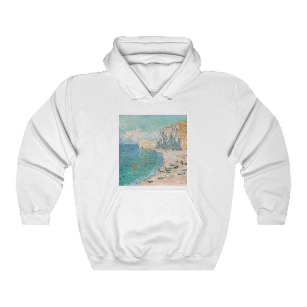 Hooded Sweatshirt - The Beach and the Falaise d'Amont, Claude Monet - Art an a T