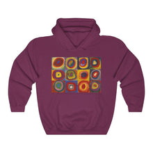 Load image into Gallery viewer, Hooded Sweatshirt - Squares with Concentric Circles, Wassily Kandinsky - Art an a T