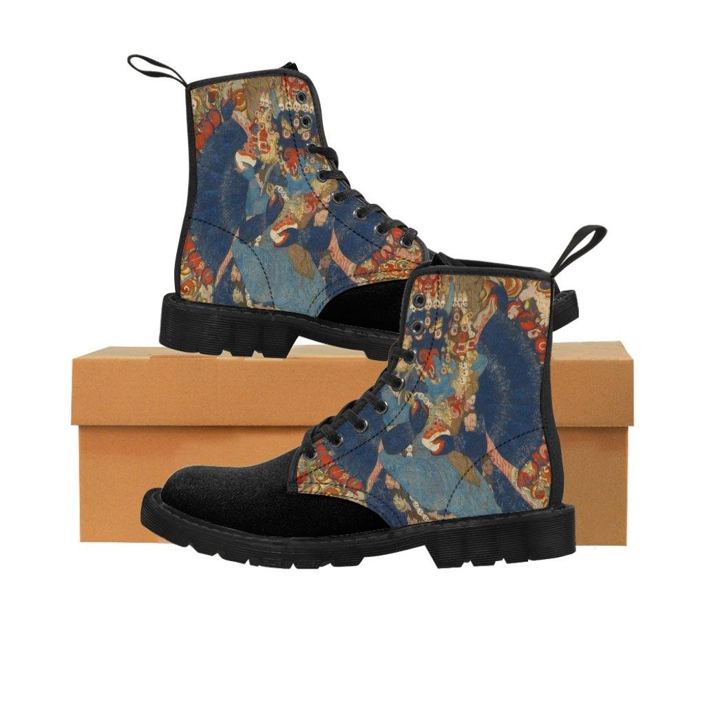 Men's Canvas Boots - Thangka Depicting Vajrabhairava, Tibetan Illustrations - Art an a T
