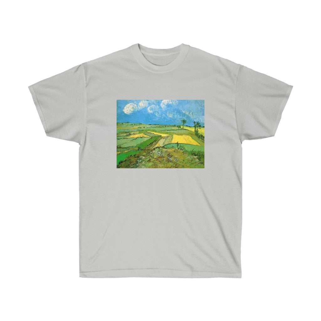 Tee - Wheat Fields at Auvers Under Clouded Sky, Vincent van Gogh T-Shirt 19.95 Art an a T