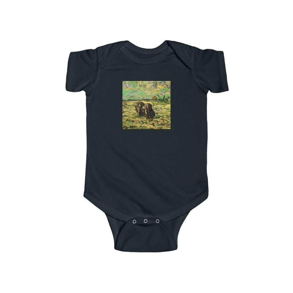 Infant Onesie - Two Peasant Women Digging in Field with Snow, Vincent van Gogh, Vincent van Gogh - Art an a T
