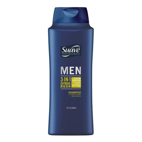 Men Citrus Rush 3-in-1 Shampoo Conditioner Body Wash, Suave 828 ml