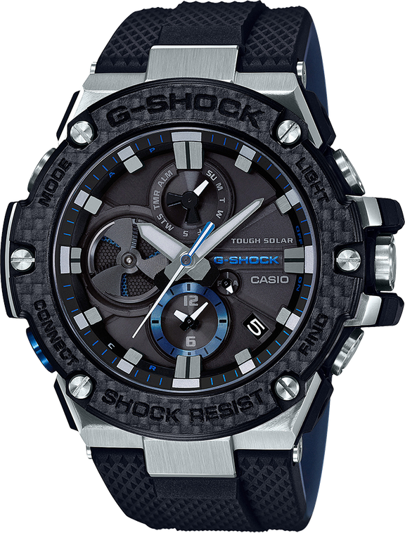 G-Shock GSTB100XA G-Steel Carbon Fiber Bezel Black Blue