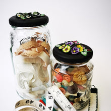 Load image into Gallery viewer, Upcycle your jar with an air-tight lid, hand-decorated in New Zealand. Decorated with colourful polymer clay flowers. Standard fitting  (63mm) so it fits jars you have at home. Gift boxed in an attractive matchbox.