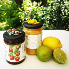 Load image into Gallery viewer, 270ml glass hexagonal  jar and lid hand-decorated in New Zealand, with  an air-tight lid decorated with miniture oranges, lemons, limes and passionfruit. Ready to be filled with jam, marmalaide, sweets or other treasures.