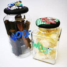 Load image into Gallery viewer, Round Dog glass treat Jar hand-decorated in New Zealand,  with a pile of  funky brightly decorated polymer clay bones on the air-tight lid, ideal as a gift for that special dog