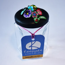 Load image into Gallery viewer, 185ml glass hexagonal  jar and lid hand-decorated in New Zealand, with  an air-tight lid decorated with colourful polymer clay flowers. Ready to be filled with fudge, sweets or other treasures.
