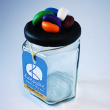 Load image into Gallery viewer, 185ml glass hexagonal  jar and lid hand-decorated in New Zealand, with  an air-tight lid decorated with polymer clay jelly beans. Ready to be filled with jelly beans, sweets or other treasures.