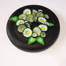 Load image into Gallery viewer, Upcycle your jar with an air-tight lid, hand-decorated in New Zealand. Decorated with polymer clay daisies in a daisy chain. Standard fitting  (63mm) so it fits jars you have at home. Gift boxed in an attractive matchbox.
