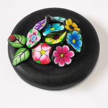 Load image into Gallery viewer, Upcycle your jar with an air-tight lid, hand-decorated in New Zealand. Decorated with colourful polymer clay flowers. Standard fitting  (58mm) so it fits jars you have at home. Gift boxed in an attractive matchbox.