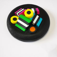 Load image into Gallery viewer, Upcycle your jar with an air-tight lid, hand-decorated in New Zealand. Decorated with polymer clay licorice allsorts. Standard fitting  (63mm) so it fits jars you have at home. Gift boxed in an attractive matchbox.