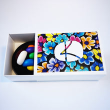 Load image into Gallery viewer, Upcycle your jar with an air-tight lid, hand-decorated in New Zealand. Decorated with polymer clay pansies  Standard fitting  (63mm) so it fits jars you have at home. Gift boxed in an attractive matchbox.