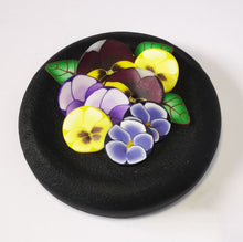 Load image into Gallery viewer, Upcycle your jar with an air-tight lid, hand-decorated in New Zealand. Decorated with polymer clay pansies  Standard fitting  (58mm) so it fits jars you have at home. Gift boxed in an attractive matchbox.