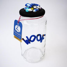 Load image into Gallery viewer, Round Dog glass treat Jar hand-decorated in New Zealand,  with a polymer clay WOOF on the front, and a pile of  funky brightly decorated polymer clay bones on the air-tight lid, ideal as a gift for that special dog
