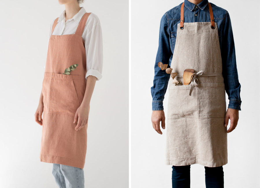 Luxury apron and pinafore linen aprons