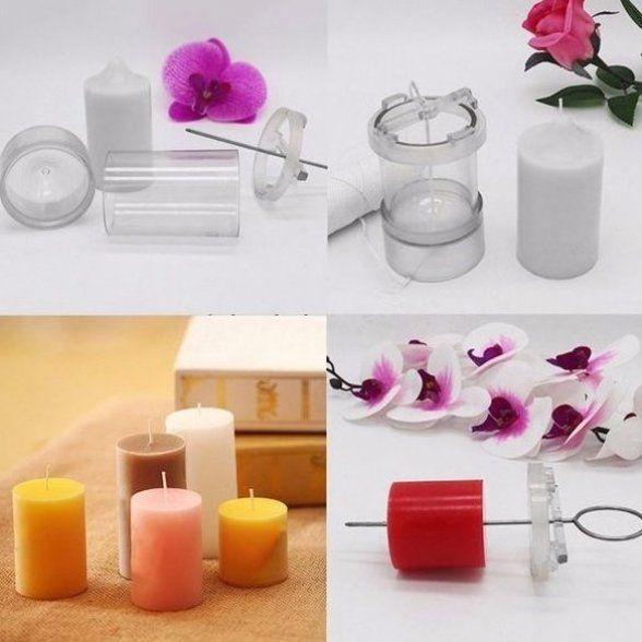 Acrylic Round Pillar Candle Mold With Metal Wick Guide Molds - Craftiviti