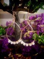 Rose Gold and Freshwater Pearl Teardrop Hoops
