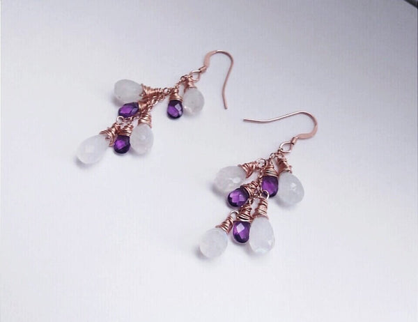 Rose Gold Moonstone and Amethyst Cluster Earrings