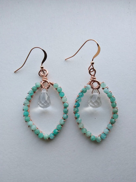Amazonite and Quartz Marquis Hoops