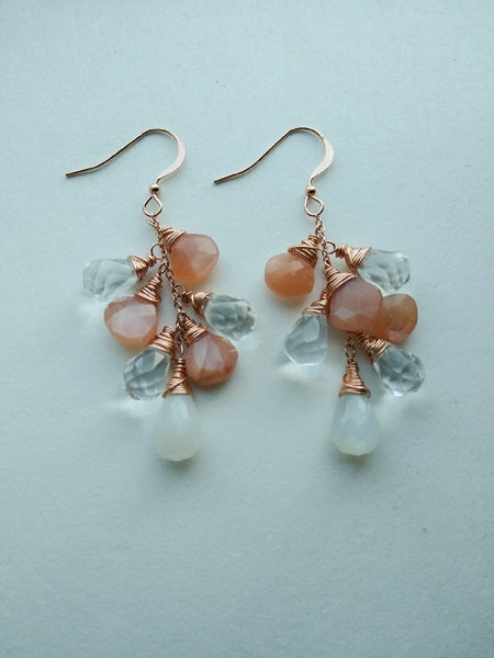 Rose Gold Cluster Earrings with Peach Moonstone, Quartz, and White Moonstone