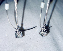 Load image into Gallery viewer, Silver Diamond Dangle Earrings - Simplicity, Minimalist Earrings
