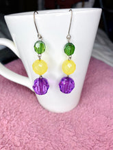 Load image into Gallery viewer, Recycled handmade Earrings- Dangle Earrings - Beads Earrings - Colourful - Green/Yellow/Purple Earrings- Classy Earrings